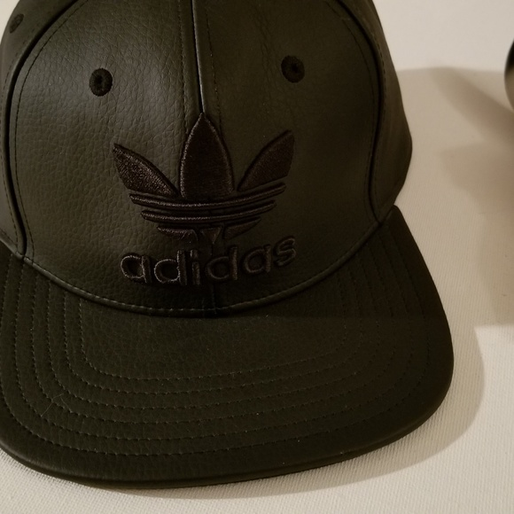 b17d3a82 adidas Accessories | Black Faux Leather Snapback Hat | Poshmark